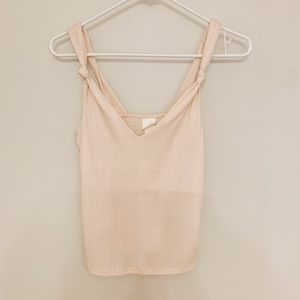 Pastel Pink Knotted Strap Tank Top